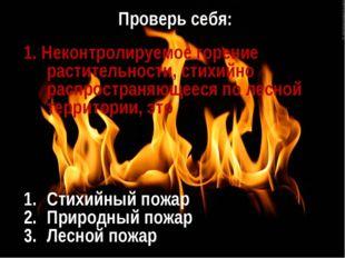 Проверь себя: 1. Неконтролируемое горение растительности, стихийно распростра