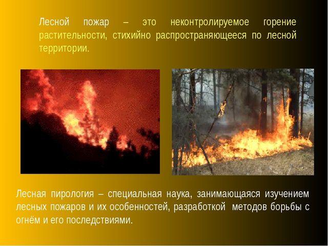 Лесная пирология – специальная наука, занимающаяся изучением лесных пожаров...