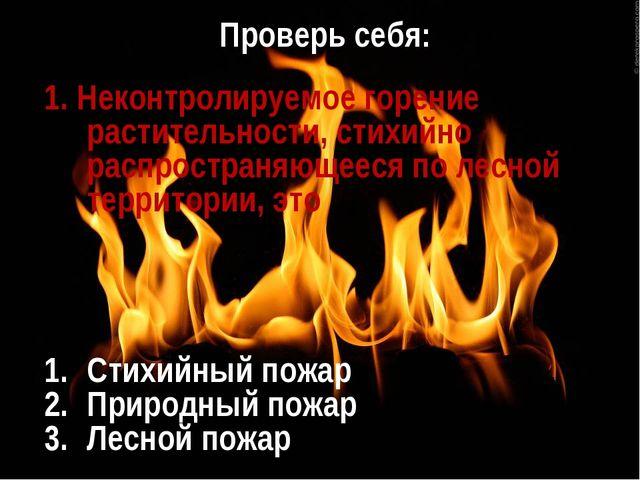 Проверь себя: 1. Неконтролируемое горение растительности, стихийно распростра...