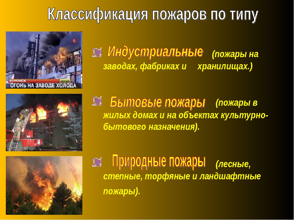 (пожары на заводах, фабриках и хранилищах.) (пожары в жилых домах и на объек...