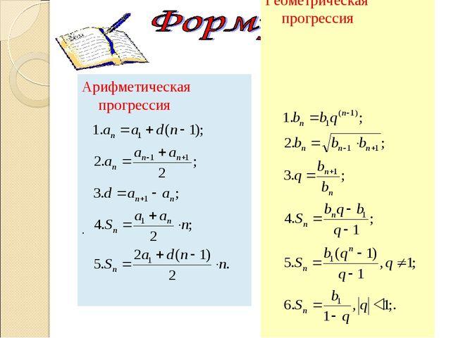 Арифметическая прогрессия . Геометрическая прогрессия .