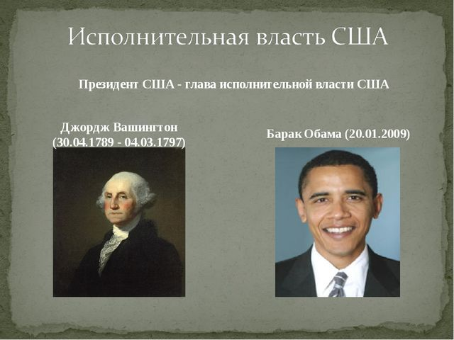 Президент США - глава исполнительной власти США Джордж Вашингтон (30.04.1789...