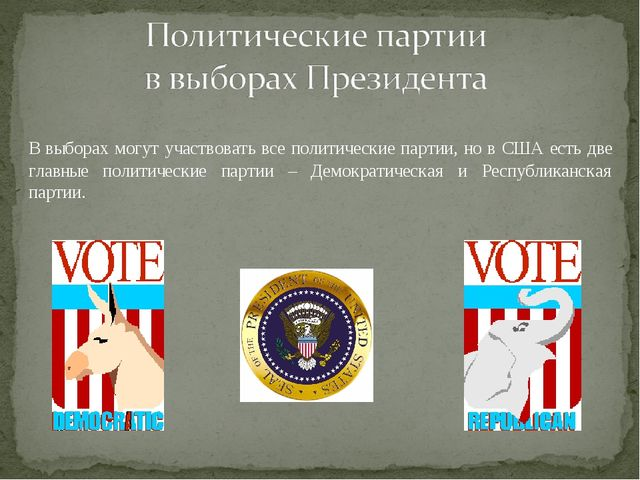 В выборах могут участвовать все политические партии, но в США есть две главн...
