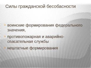 Силы гражданской бесобасности воинские формирования федерального значения, пр