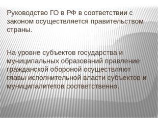 Руководство ГО в РФ в соответствии с законом осуществляется правительством ст
