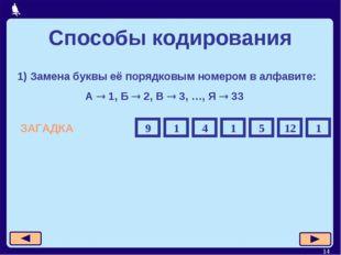 * 1) Замена буквы её порядковым номером в алфавите: А  1, Б  2, В  3, …, Я