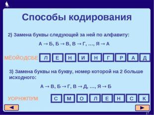 * Способы кодирования 2) Замена буквы следующей за ней по алфавиту: А  Б, Б