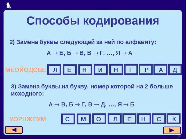 * Способы кодирования 2) Замена буквы следующей за ней по алфавиту: А  Б, Б...