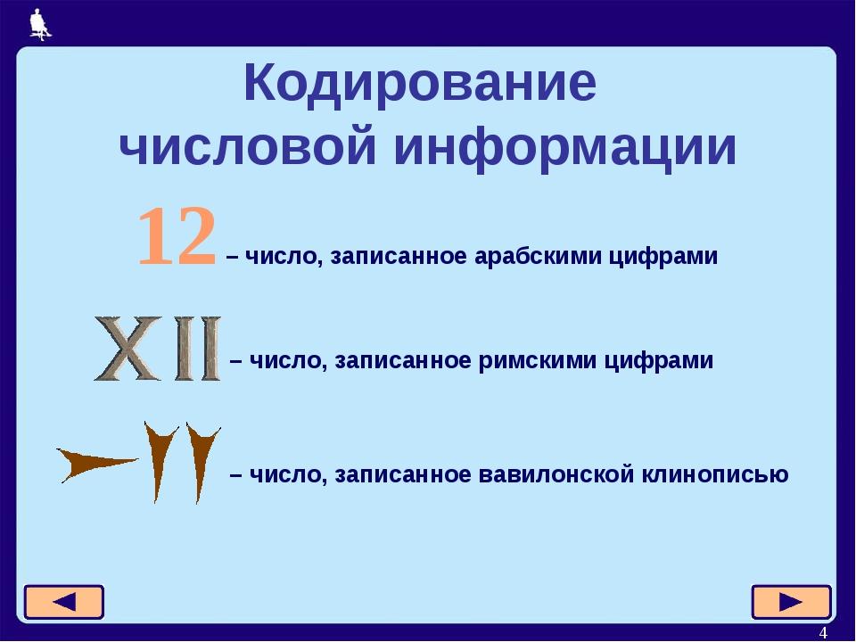 * Кодирование числовой информации 12 – число, записанное арабскими цифрами –...