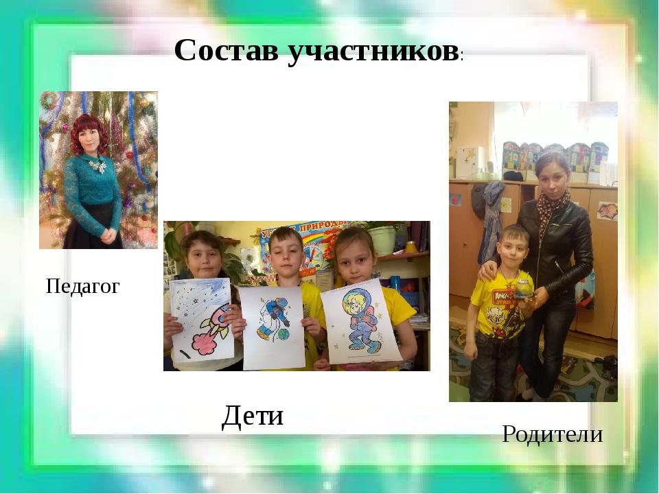 Состав участников: Педагог Дети Родители