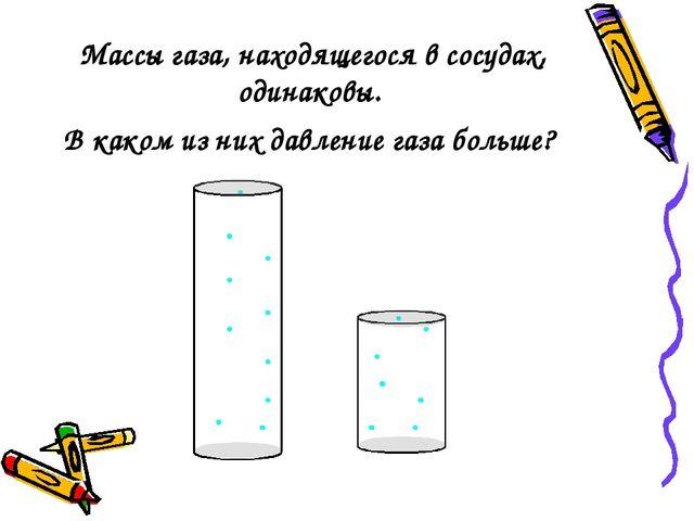 Массы газа, находящегося в сосудах, одинаковы. В каком из них давление газа б...