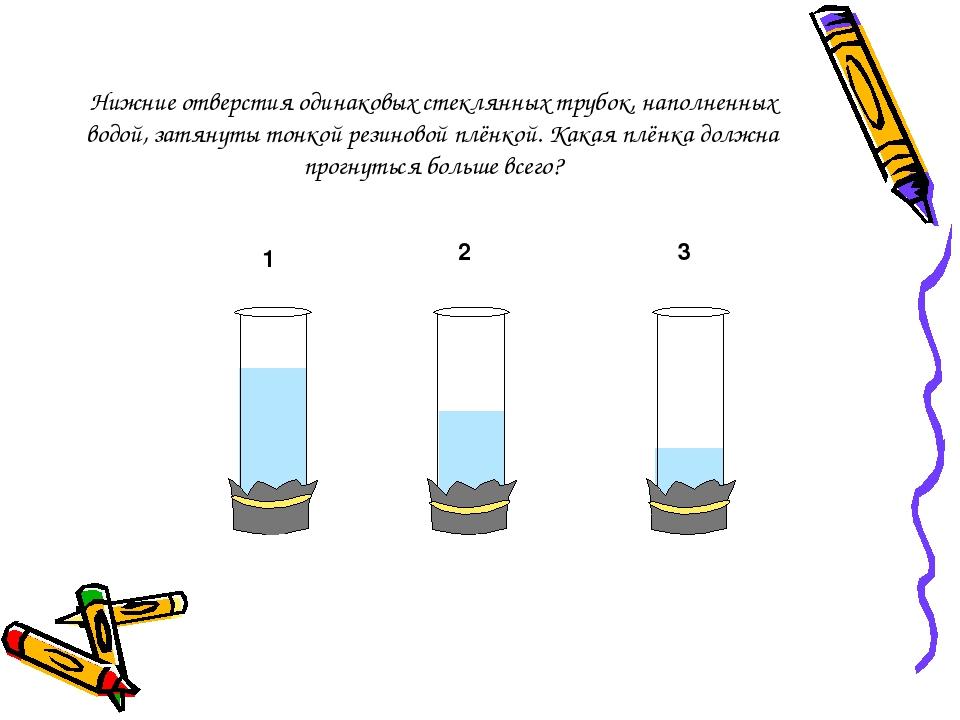 Нижние отверстия одинаковых стеклянных трубок, наполненных водой, затянуты то...