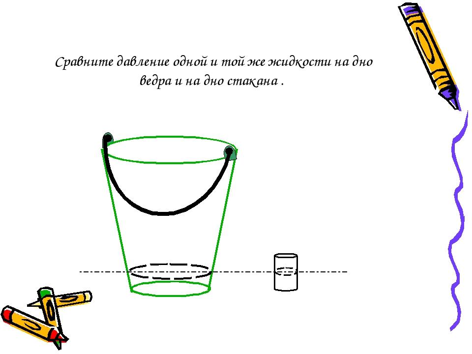 Сравните давление одной и той же жидкости на дно ведра и на дно стакана .