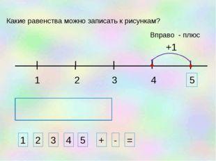 1 3 2 4 1 2 3 4 + - = Какие равенства можно записать к рисункам? +1 5 Вправо