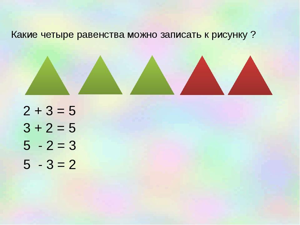 Какие четыре равенства можно записать к рисунку ? 2 + 3 = 5 3 + 2 = 5 5 - 2...