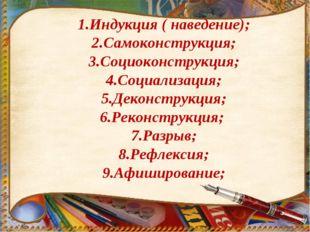 1.Индукция ( наведение); 2.Самоконструкция; 3.Социоконструкция; 4.Социализац