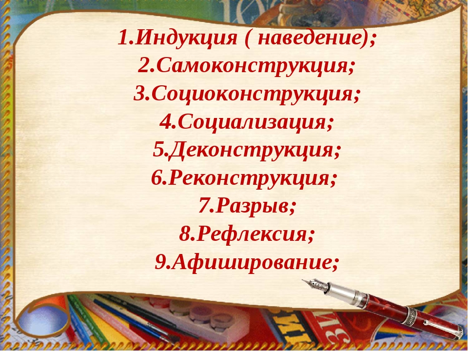 1.Индукция ( наведение); 2.Самоконструкция; 3.Социоконструкция; 4.Социализац...
