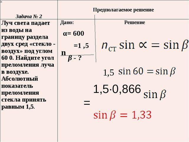 n 1,5 1,5·0,866 = Задача № 2 Предполагаемоерешение Лучсвета падает из воды н...