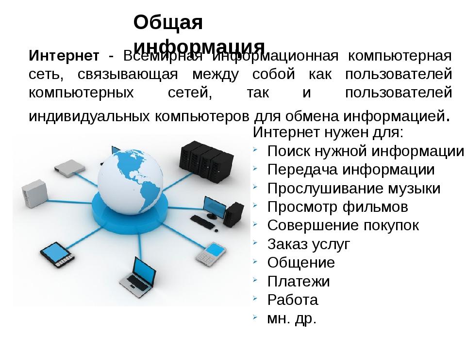 Интернет - Всемирная информационная компьютерная сеть, связывающая между собо...