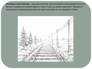 Линейная перспектива – вид перспективы, расчитанный на неподвижную точку зрен