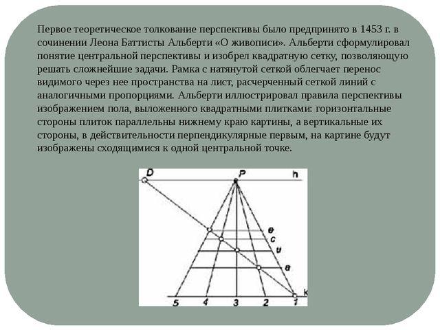 Первое теоретическое толкование перспективы было предпринято в 1453 г. в сочи...