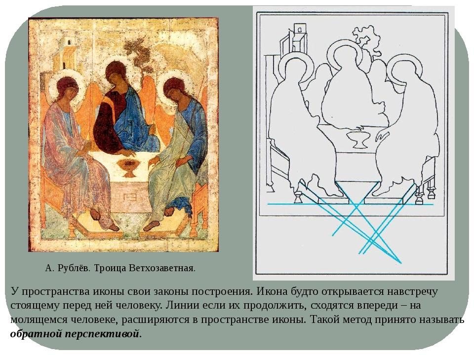 А. Рублёв. Троица Ветхозаветная. У пространства иконы свои законы построения....