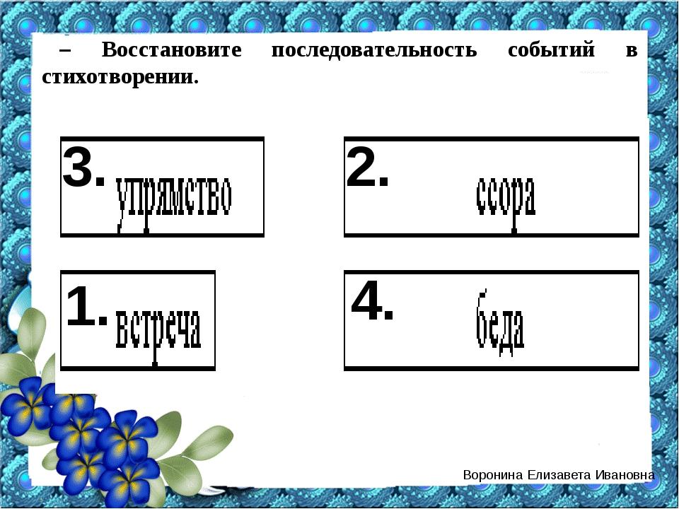 – Восстановите последовательность событий в стихотворении. 1. 2. 3. 4. Ворони...