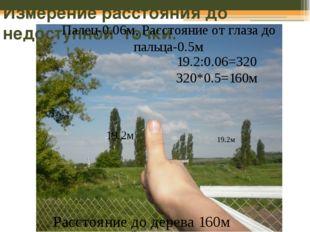 Измерение расстояния до недоступной точки. 19.2м 19.2м Палец-0.06м, Расстояни