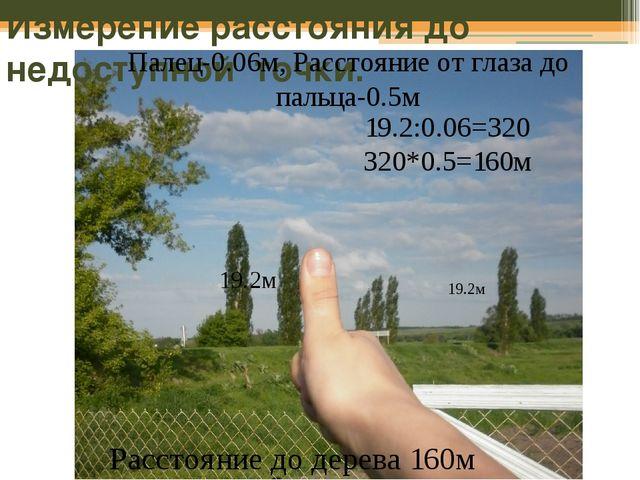 Измерение расстояния до недоступной точки. 19.2м 19.2м Палец-0.06м, Расстояни...