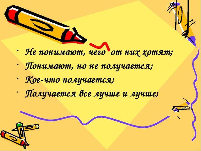 Не понимают, чего от них хотят; Понимают, но не получается; Кое-что получает...