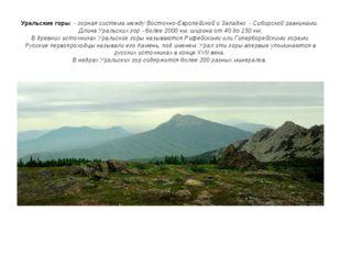 Уральские горы- горная система между Восточно-Европейской и Западно - Сиби