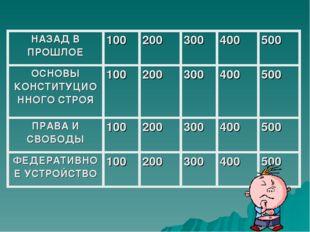 НАЗАД В ПРОШЛОЕ100200300400500 ОСНОВЫ КОНСТИТУЦИОННОГО СТРОЯ100200300
