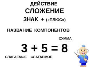 ДЕЙСТВИЕ СЛОЖЕНИЕ ЗНАК + («ПЛЮС») НАЗВАНИЕ КОМПОНЕНТОВ СУММА 3 + 5 = 8 СЛАГАЕ