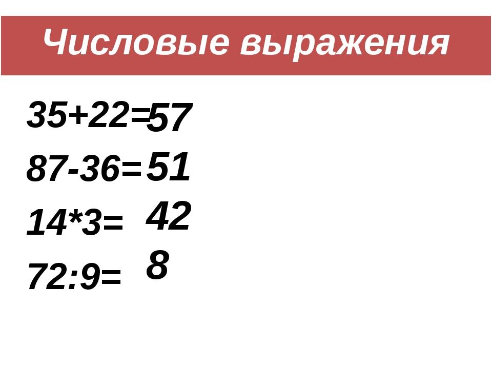 Числовые выражения 35+22= 87-36= 14*3= 72:9= 57 51 42 8