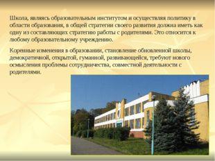 Школа, являясь образовательным институтом и осуществляя политику в области об