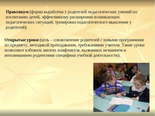 Практикум (форма выработки у родителей педагогических умений по воспитанию де