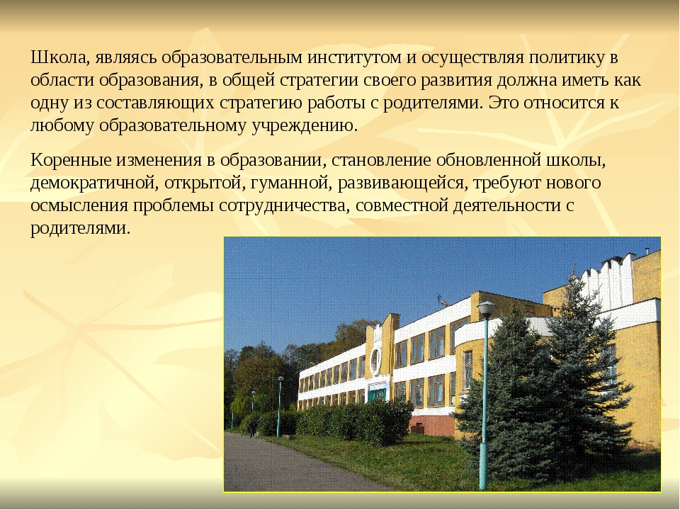 Школа, являясь образовательным институтом и осуществляя политику в области об...
