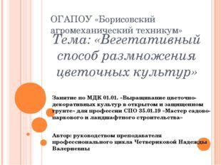 Тема: «Вегетативный способ размножения цветочных культур» ОГАПОУ «Борисовский