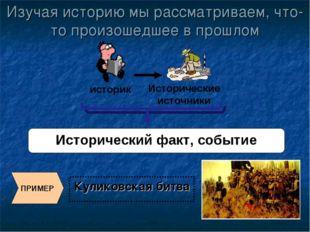 Куликовская битва Исторический факт, событие ПРИМЕР Изучая историю мы рассмат