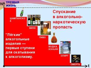 """Спускание в алкогольно-наркотическую пропасть ТРЕЗВАЯ ЖИЗНЬ t N """"Лёгкие"""" алко"""