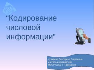 """""""Кодирование числовой информации"""" Чукавина Екатерина Сергеевна, учитель инфор"""