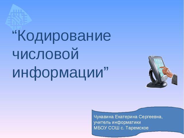 """""""Кодирование числовой информации"""" Чукавина Екатерина Сергеевна, учитель инфор..."""
