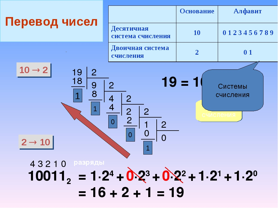 10  2 2  10 19 19 = 100112 система счисления 100112 4 3 2 1 0 разряды = 1·2...