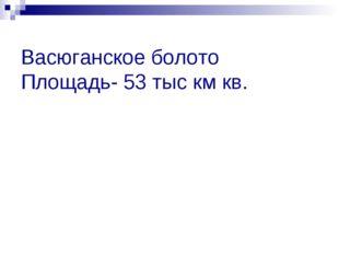 Васюганское болото Площадь- 53 тыс км кв.