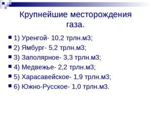 Крупнейшие месторождения газа. 1) Уренгой- 10,2 трлн.м3; 2) Ямбург- 5,2 трлн.