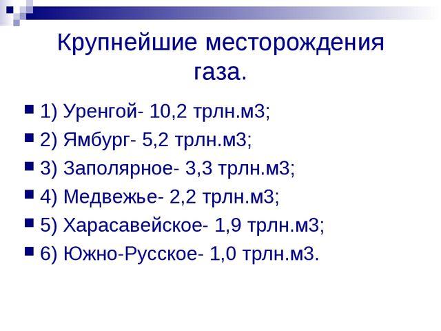 Крупнейшие месторождения газа. 1) Уренгой- 10,2 трлн.м3; 2) Ямбург- 5,2 трлн....