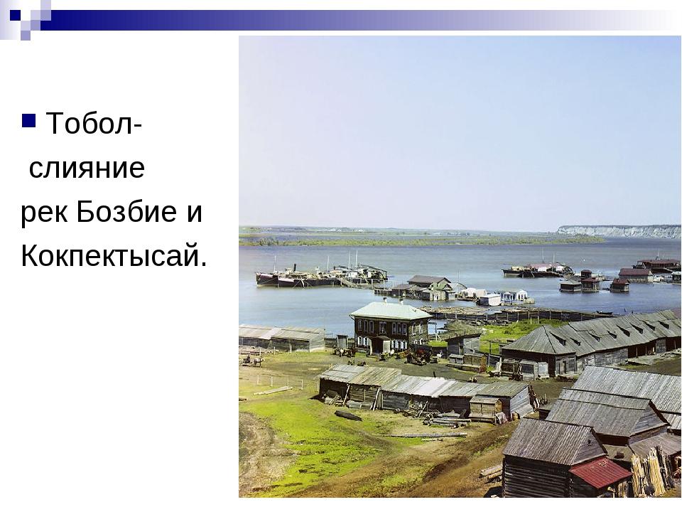Тобол- слияние рек Бозбие и Кокпектысай.