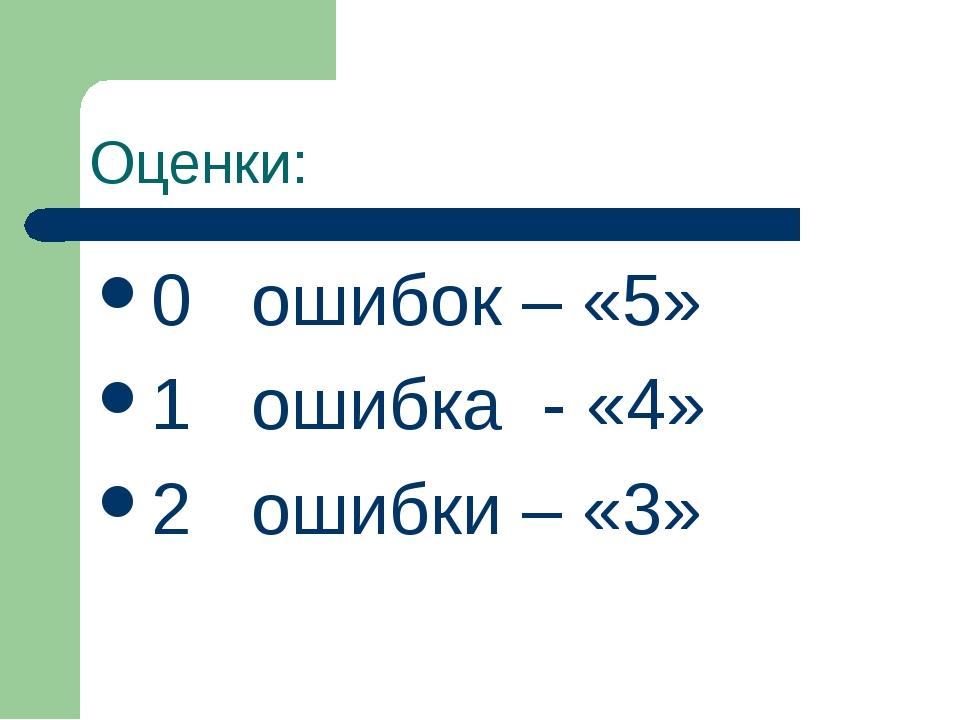 Оценки: 0 ошибок – «5» 1 ошибка - «4» 2 ошибки – «3»