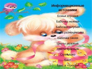 Информационные источники Божья коровка Бабочка нежная Бабочка голубая Бабочка