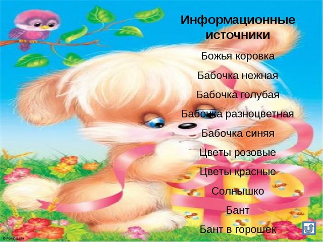Информационные источники Божья коровка Бабочка нежная Бабочка голубая Бабочка...